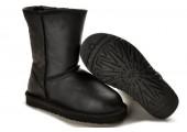 UGG Classic Short Leather Black - Фото 4