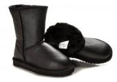 UGG Classic Short Leather Black - Фото 6