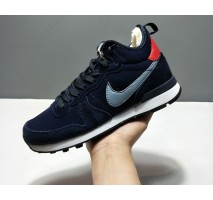 Кроссовки Nike Internationalist Navy Blue С МЕХОМ