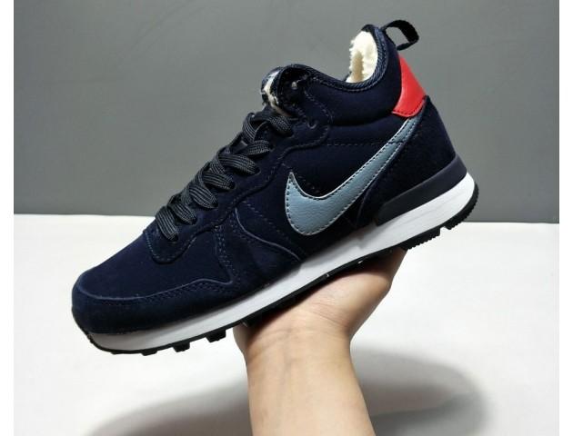 Кроссовки Nike Internationalist Navy Blue С МЕХОМ