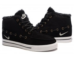 Кроссовки Nike High Top Fur Black С МЕХОМ