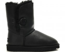 UGG BABY BAILEY BUTTON II BOOT LEATHER BLACK