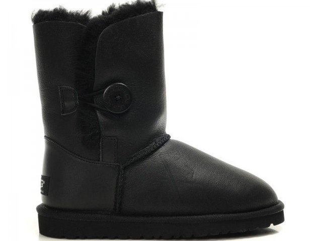 UGG Baby Bailey Button Leather Black