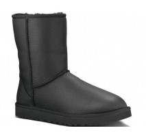 UGG CLASSIC SHORT II LEATHER BOOT BLACK