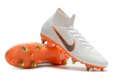 Футбольные бутсы Nike Mercurial Flyknit Superfly VI Elite SG AC White/Orange - Фото 5