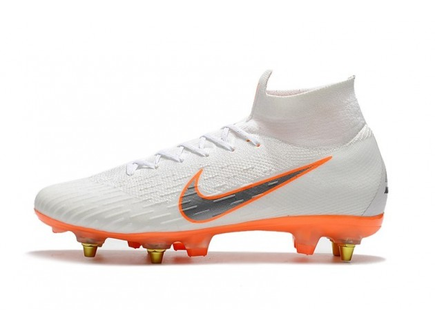 Футбольные бутсы Nike Mercurial Flyknit Superfly VI Elite SG AC White/Orange