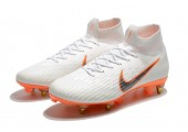 Футбольные бутсы Nike Mercurial Flyknit Superfly VI Elite SG AC White/Orange - Фото 8