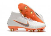 Футбольные бутсы Nike Mercurial Flyknit Superfly VI Elite SG AC White/Orange - Фото 9