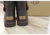 UGG BAILEY BUTTON II BOOT LEATHER BROWN - Фото 9