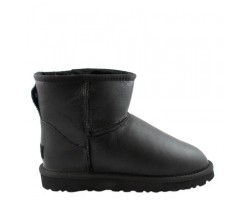 UGG Classic Mini Аll Leather Bomber Black