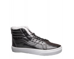 Зимние кеды Vans Velvet Crocodile Leathe Black С МЕХОМ