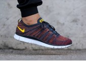 Кроссовки Nike Free Flyknit NSW Anthracite/Laser Orange - Фото 3