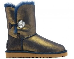 UGG BAILEY BUTTON II METALLIC BLING NAVY/GOLD