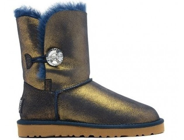 UGG Bailey Button Bling Metallic Blue/Gold