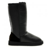 UGG CLASSIC TALL BOOT LEATHER BLACK