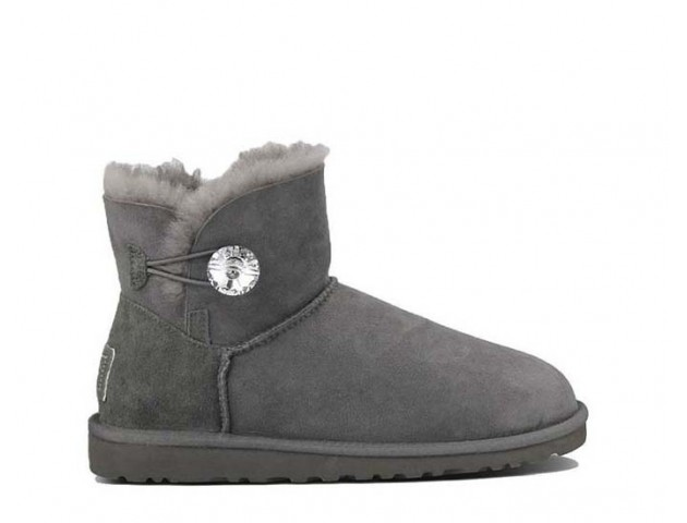UGG MINI BAILEY BUTTON BLING BOOT GREY