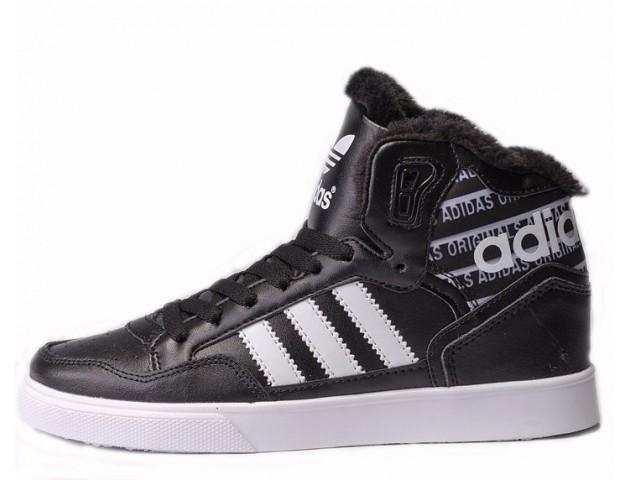 Кроссовки Adidas Extaball Winter Black/White С МЕХОМ
