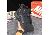 Кроссовки Nike Huarache X Acronym City MID Leather All Black С МЕХОМ - Фото 4