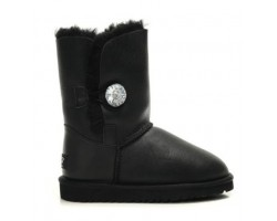 UGG BAILEY BUTTON BOOT LEATHER BLING BLACK