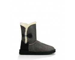 UGG BAILEY BUTTON II BOOT LEATHER GREY/BLACK