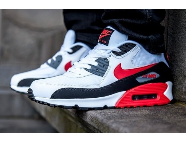 Кроссовки Nike Air Max 90 White/Black/Cool Grey/Challenge Red
