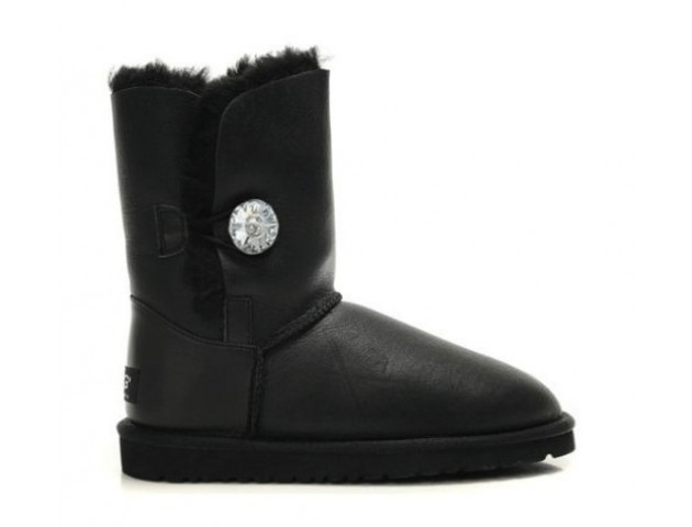 UGG BAILEY BUTTON BOOT LEATHER BLING BLACK/METALLIC