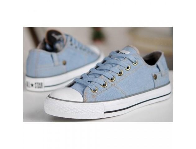 Кеды Converse Chuck Taylor Retro Classic Denim Lo Sneakers Light Blue