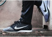 Кроссовки Nike Flyknit Racer Black/White - Фото 1