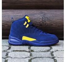 Nike Air Jordan 12 (синие с жёлтым)